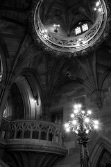 Staircase (Five Second Rule) Tags: manchester architecture johnrylandslibrary staircase building books library sculpture blackandwhite arches lamps structure neogothic victorian