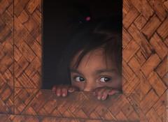 Peeked, India 2016 (reurinkjan) Tags: india 2016 janreurink himachalpradesh spiti kinaur ladakh kargil jammuandkashmir littlegirl peeked school schoolhouse child
