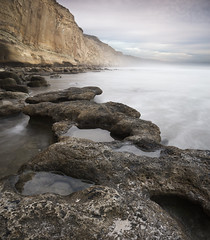 san diego torrey pines (William Dunigan) Tags: san diego torrey pines state park reserve beach ocean sea shoreline seascape cliffs rock formation sandstone clouds cloudy marine layer low light long exposure motion blur water waves southern california united states usa southwest america north county nature color photography