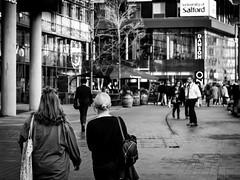 walking (richardbarthel) Tags: countdown media city manchester england uk television street photography set behind scenes video equipment university portrait einfarbig black white