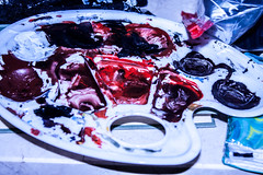 Color Palette (kusmirina) Tags: color colour painting red black acryl acrylic colors artist macro structure traditional bloody flashlight flash