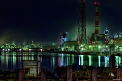 HDR Photo: Factory night view 'Mizue TomareMiyo View' (uemii2010) Tags: plant japan night industrial factory hdr kawasaki photomatix hdrphotography technoscape hdrjapan tamronspaf2875mm canoneos7d topazadjust hdrphotographers