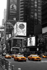 Times Square (CAaverallPhoto) Tags: newyorkcity blackandwhite usa newyork colour america unitedstates manhattan cab taxi timessquare greyscale