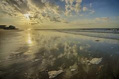Morning on the Beach (Michael Neil O'Donnell) Tags: ocean morning usa sun beach water clouds sunrise reflections nc sand surf atlantic rays hdr brunswickcounty oceanislebeach