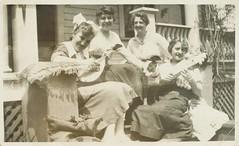 Four gals serenading a dog (sctatepdx) Tags: dog snapshot vernacular vintageclothes vintagewomen vintagedog oldsnapshot vintagemusicalinstruments vintagesnapshot