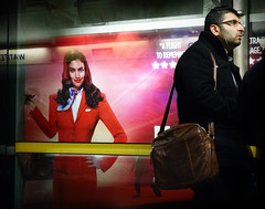 A Flight to Remember (stevedexteruk) Tags: underground subway advertising poster metro candid jubilee sony tube line billboard iso ii advert passenger mk londontransport 6400 2013 dscrx100