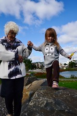 Walking on the Rocks (Vegan Butterfly) Tags: family grandma people love girl marina bay kid rocks child grandmother together thunder