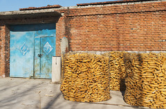 Out to dry (Andrew Tan 2011) Tags: china door morning blue shadow sun house brick corn village cage maize drying wiremesh sunning tangshan bricked basicdwelling vision:outdoor=0593