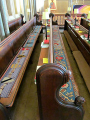 Somerset - Wells Cathedral Quire (pefkosmad) Tags: church modern choir cathedral embroidery religion wells somerset wellscathedral needlepoint seats iglesias benches pews cushions furnishings tapestry embroideries placeofworship holyplace quire