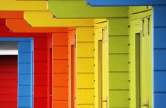 Beach Huts (Wilamoyo) Tags: abstract color colour beach wooden dvd bright artistic shapes huts scarborough rectangles