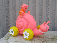 Vintage Pixie and Snail (The Moog Image Dump) Tags: pink ireland vintage toy soft republic vinyl large shell snail pixie elf walker roller jl rider prescott squeaker squeaky