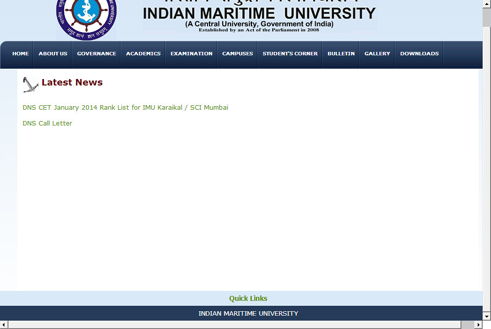 DNS CET January 2014 results for IMU Karaikal / SCI Mumbai - Indian Maritime University  2014