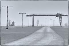 Ferropolis (duesentrieb) Tags: blackandwhite bw industry monochrome fog germany europa europe nebel crane schwarzweiss kran industrie ferropolis sachsenanhalt tumblr
