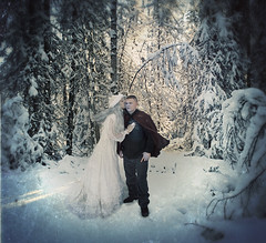 day 14--the Snow Queen's kiss (XeniaJoy) Tags: winter selfportrait snow cold ice fairytale woods 365 snowfall bluehair vignette snowqueen whitehair 365days