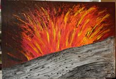 Volcan de Tanna (Karen Cattoire) Tags: nature painting volcano energy acrylic mixedmedia explosion peinture volcan vanuatu tanna karencattoire