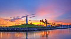 Long Beach Lighthouse (On Location in Los Angeles) Tags: ocean sunset lighthouse night evening harbor longbeach hdr pineavenuepier