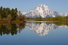 Reflections at Oxbow Bend (bhophotos) Tags: travel blue trees sky usa mountain snow reflection nature water reflections river landscape geotagged nikon day clear snakeriver wyoming nikkor tetons jacksonhole grandtetonnationalpark gtnp oxbowbend mtmoran 80200mmf28dnew d700 projectweather bruceoakley