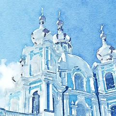 """Smolny Cathedral"", Saint Petersburg (Now Idonoa) Tags: art digitalart petersburg filter automatic saintpetersburg digitalwatercolor imageprocessing   smolny smolnycathedral   instagram snapseed waterlogue"