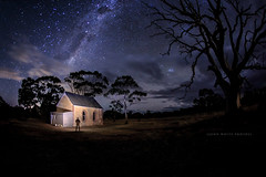 Australia (john white photos) Tags: longexposure sky man tree church night space australian australia southaustralia milkyway bigswamp