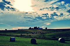 illinois... (BillsExplorations) Tags: illinois evening sunset bales hay field farm rural clouds sky fall autumn harvest seasons agriculture