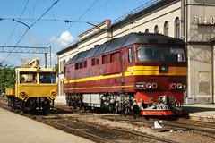 Locomotives (Konstantin D.) Tags: jelgava  stacija station  dzelzce locomotive  tep70 70 railroad railway   lettonie otwa latvia latvija lettland  dzelzcels bahn ldz