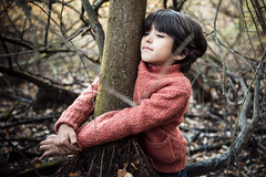 forest boy (Philippe Put) Tags: embrace love care environment message download generation young protect preserve new nature hug boy child school 6yearold kid fall autumn forest fashion fredandginger wool tree free happy mixedrace indian