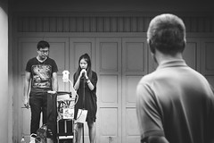 Performing (Marsh.mis) Tags: blue street streetphotography singapore canon performance perform singing man girl blackandwhite bnw black white chinatown old sing photo city