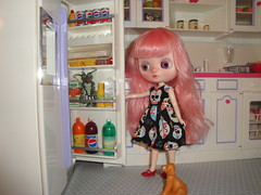 November 19, 2016, Blythe a Day - Unexpected (``` November Rain ```) Tags: blytheaday custommiddieblythe kitchen gremlin stripe refriderator unexpected