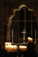 Alter view through the choir stalls (N'GOMAPHOTOGRAPHY) Tags: peterborough cathedral nightshoot night candles gothic masonry stonework woodwork carvings stainedglass window jesus cross crucifixion