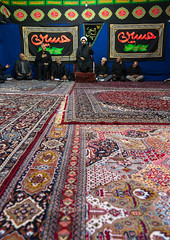 Iranian shiite muslim men listening to a mullah who preaches during muharram, Central county, Theran, Iran (Eric Lafforgue) Tags: 9people adultsonly ashura calligraphy ceremony colorimage commemorate faith groupofpeople hosseinieh hussain imamhussein indoors iran iranian iranianculture islam menonly middleeast mourning muharram muslim people persia pray prayer praying religion remembrance ritual script shia shiism shiite spirituality tehran tradition vertical worship worshiping theran centralcounty