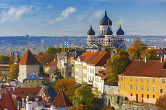 Tallinn (Voyages Lambert) Tags: steeple toompeahill beautiful stalexandernevskicathedraltallinn travel peopletraveling buildingexterior capital downtowndistrict dusk oldtown tallinn spire medieval history famousplace east north architecture urbanscene closeup aerialview estonia balticcountries europe day autumn hill cloudsky sky roof cathedral church tower builtstructure urbanskyline cityscape city town