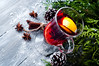 Mulled wine and spices on wooden background. (lyule4ik) Tags: wine christmas holiday spice mulled cinnamon drink alcohol lemon anise glass nobody cup vertical mug clove heat gluhwein winter food closeup tree decoration warm table delicious sweet garland glogg hot christmastime festive merry star new party glittering glint yule fir twinkle nativity punch celebration grog red wooden beverage