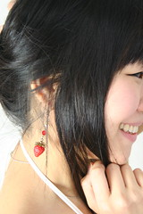 Ask To Analyze Her Adornments. (emotiroi auranaut) Tags: woman lady beauty beautiful gorgeous profile head hair strawberry earring white dress strap neck happy happiness glad smile smiling grin japan japanese asia asian grinning