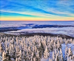 Lyon Mountain (Rev. Evan Clark) Tags: adirondack adirondacks lyonmountain firetower sunset mountain clouds snow winter