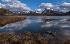 Fall in Banff (Len Langevin) Tags: banff alberta canada mountains rockies rockymountains mtrundle banffnationalpark landscape vermilionlakes lake reflection nikon d300s tokina 1116