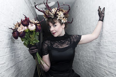WHITBY GOTH WEEKEND BY PAT LYTTLE (jpassionpat) Tags: black lacedress blackqueen regal crown flowers roses