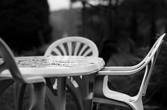 time to tidy these away (grahamrobb888) Tags: nikon nikond800 nikkor85mmf18 nikkor perthshire autumn homegarden blackwhite furniture birnamwood birnam bokeh