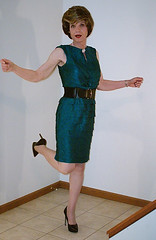 Belted Green Tiered Petals Dress (1 of 5) (s_a_essay) Tags: transgender