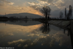 Beautiful sunset and sky reflection (BesimIbrahimii) Tags: mitrovice mitrovica moutain kosovo kosova river tree sky cloud water cloudy canon reflection landscape nature sunset dusk outdoor serene