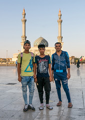 Iraqi pilgrims teenagers with fashionnable clothes in front of imam hassan mosque during muharram, Central county, Qom, Iran (Eric Lafforgue) Tags: 3people architectural architecture ashura boys buildingexterior city colorimage culture day dome faith fashion fullframe fulllength ghom history iran iranianculture islam islamic menonly middleeast minaret mosque muharram outdoors people persia photography pilgrimage pilgrims placeofworship qom qum religion religious shia shiite teenagers threepeople tradition vertical centralcounty