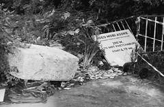 Visionary People (35mm) (jcbkk1956) Tags: mono blackwhite yashica yashinon analog rangefinder ilfordpan100 film 35mm street bangkok thailand wasteground thonglo worldtrekker fence concrete weeds