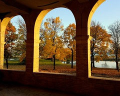golden arches (Hilarywho) Tags: belleisle detroit michigan park arches three autumn trees pond river