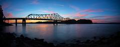 Browns Bridge Sunset Pano (Travis Rhoads) Tags: 2016 canonef1740f4l metaboneseftoeivt sonyilce7rm2a7rii gitzogt2830basaltseries2 reallyrightstuff rrspcl01 landscapephotography longexposure nikcollectionbygoogle lee3stopnd leefoundationkit filters bridges panorama sunset thebluehour copyright2016 travisrhoadsphotography water clouds georgia lakelanier brownsbridge