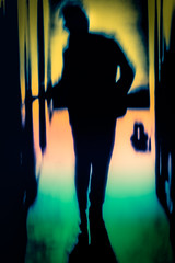 Sneaking In (Suspense in the Hallway) (Astroredg) Tags: green yelloes reds pink man entry sneaking bd bd cartoon cartoonlike suspense comic comics silhouette contrasts contrastes colorful color thriller roman novel cover couverture photographia