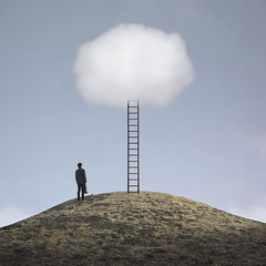 The Great Escape (brianoldham) Tags: sky cloud man hill imagination ladder thegreatescape