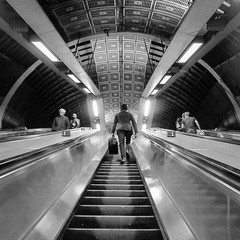 160/365 - Up (Spannarama) Tags: uk people blackandwhite london up june londonbridge underground square lights escalator steps passengers 365 commuters londonbridgeundergroundstation