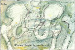 Hip clip: trying to stay on the level. 28 June, 2013. (Sharon Frost) Tags: art paintings drawings anatomy bones hip skeletons femur sketchbooks pelvis journals sacrum sharonfrost daybooks greatertrochanter