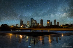 Milky way from space city (Sergio Garcia Rill) Tags: sky usa reflection composite skyline night stars memorial downtown texas nightscape unitedstates houston places fantasy