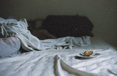 Good morning, nectarine (Emily Savill) Tags: morning food sun sunlight podcast film fruit breakfast analog canon project photography bed good grain plate f1 sheets iso slice messy vista sheet covers analogue asa agfa expired nectarine 800 fpp