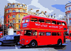 Red Bus in London (explored) (pjpink) Tags: uk red urban bus london spring april doubledecker affected hss 2013 pjpink